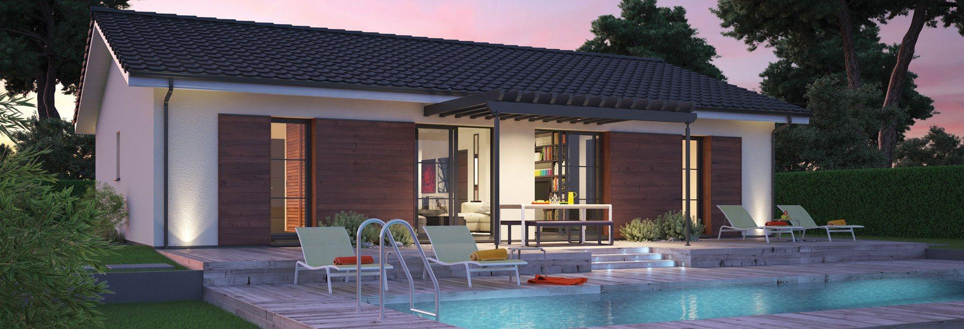 model de villa basse maison moderne