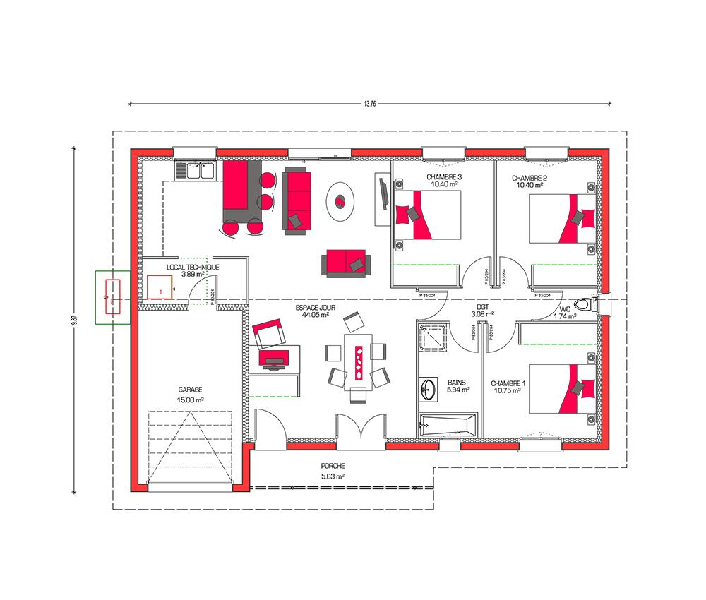 Mod le de maison villa galane for Plan villa en l