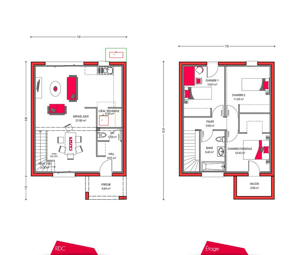 Plan maison etage 3 chambres segu maison for Modele maison 3 chambres