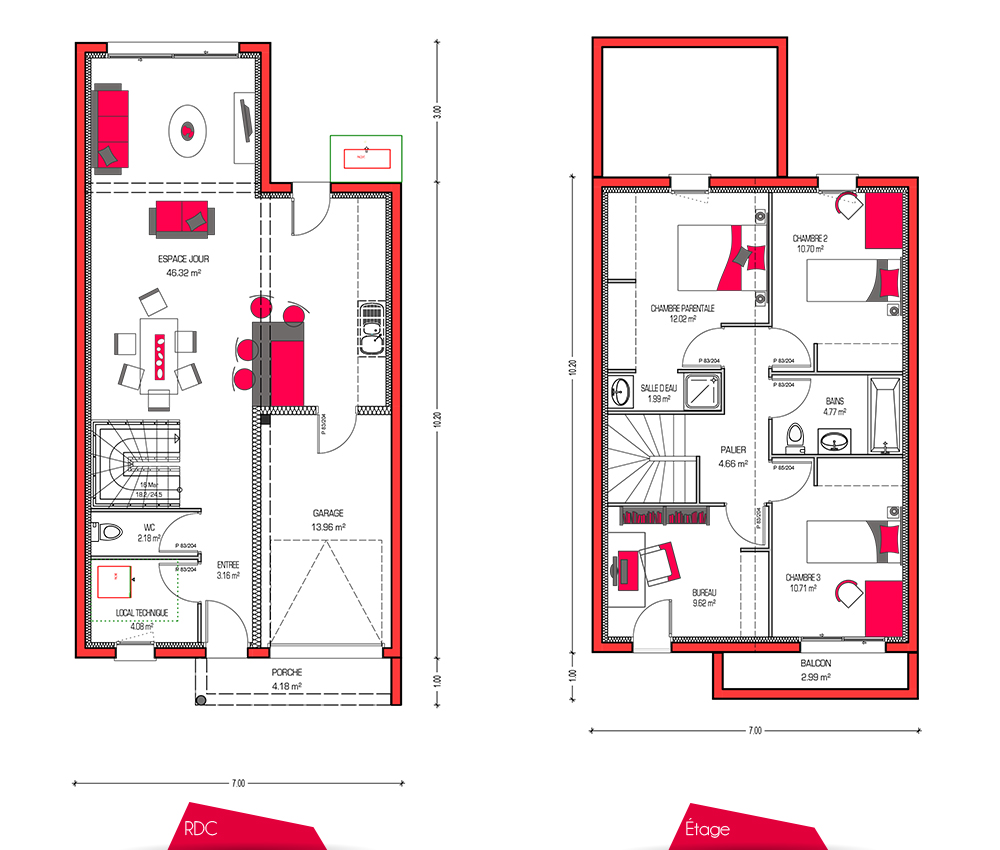 Mod le de maison villa soren - Plan maison 110m2 etage ...