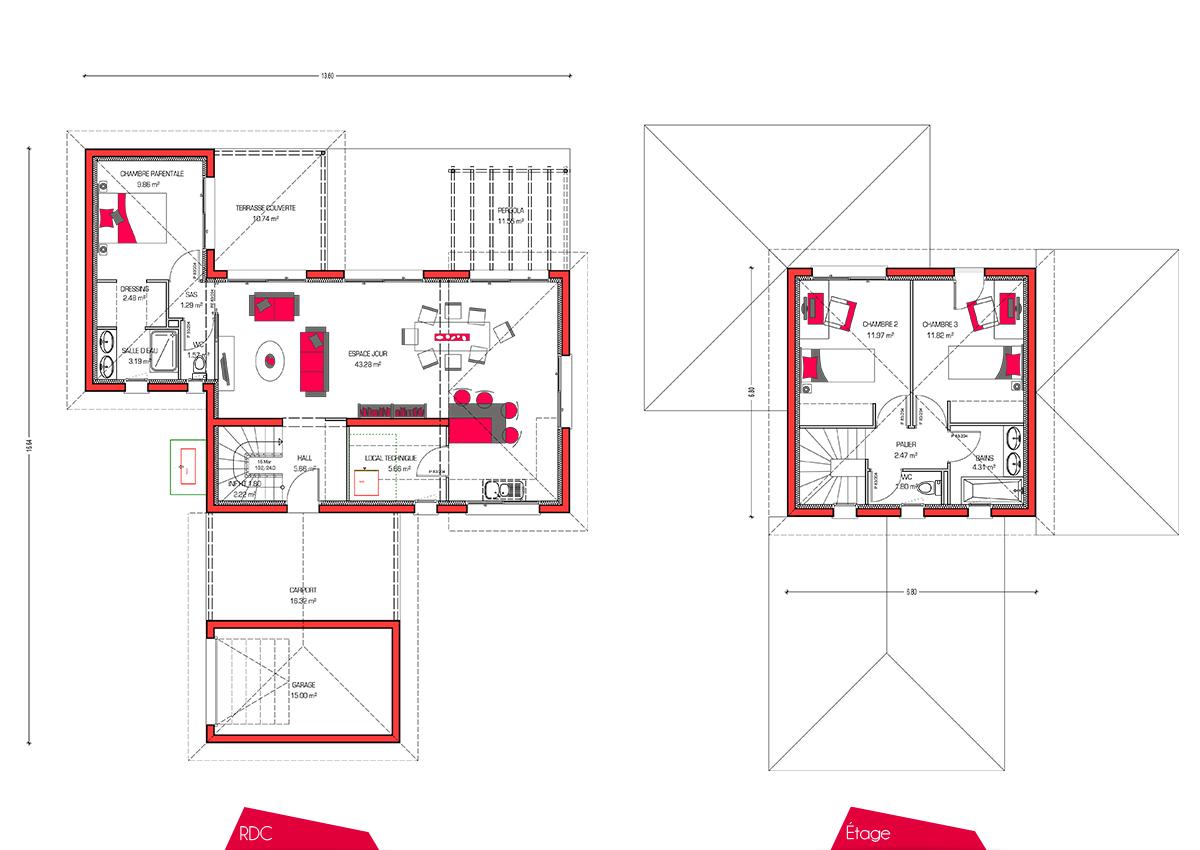 Plan maison f5 maison moderne for Plan de maison f5