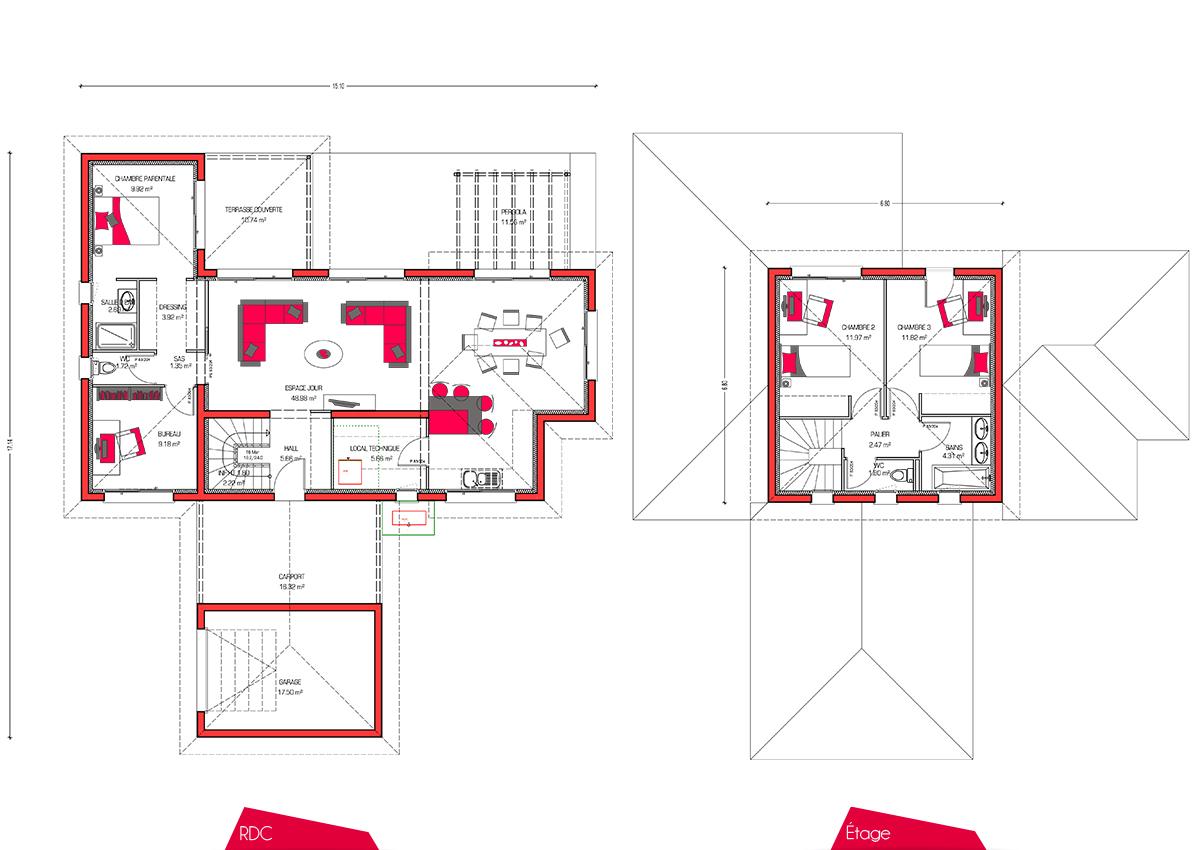 Mod le de maison villa florida - Plan maison r 1 100m2 ...