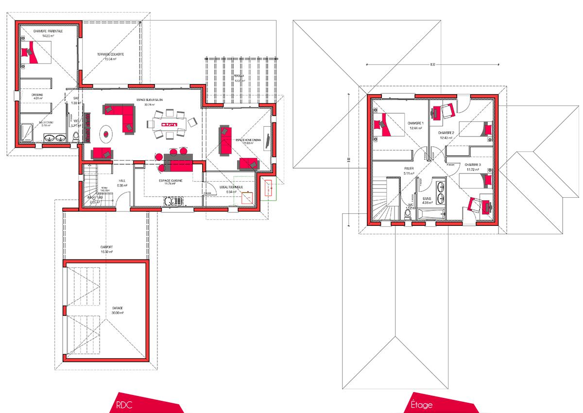Plan D 39 Une Maison Avec Couleur Maison Moderne