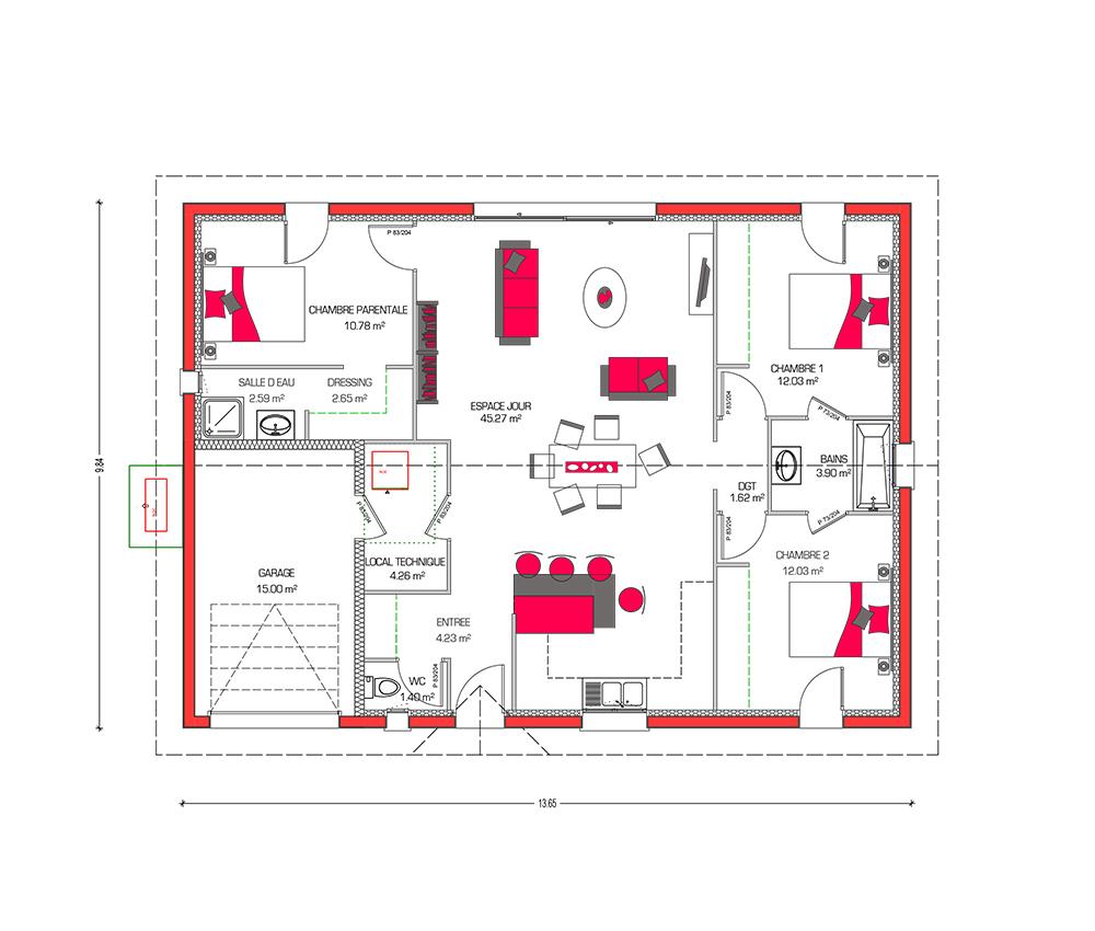 Mod le de maison villa rosa - Plan maison 130 m2 etage ...