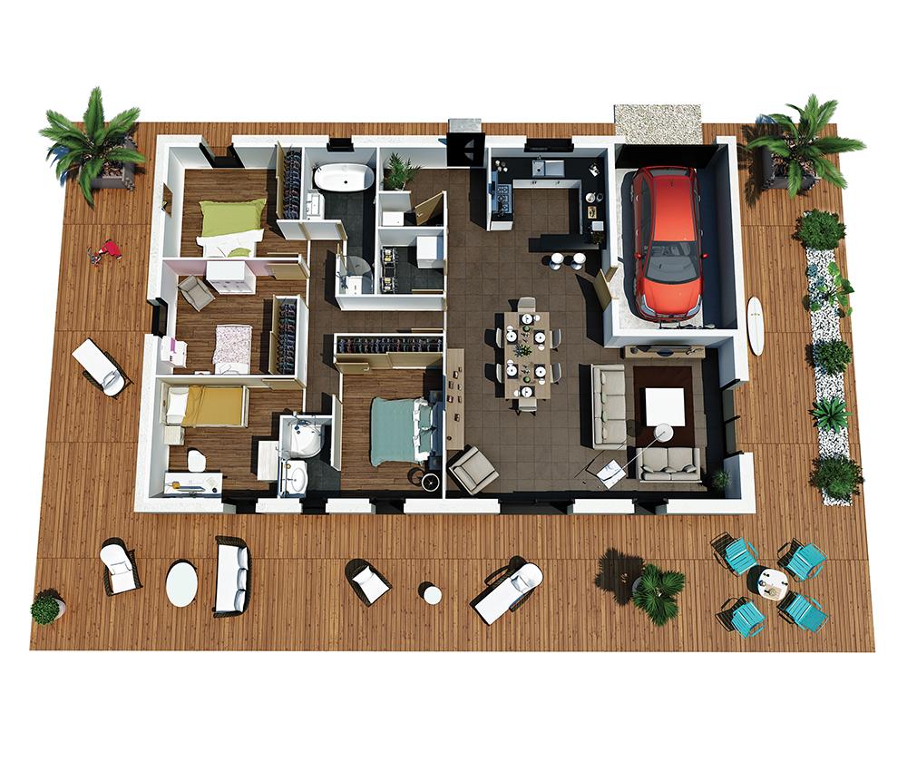 mod le de maison villa rosa. Black Bedroom Furniture Sets. Home Design Ideas