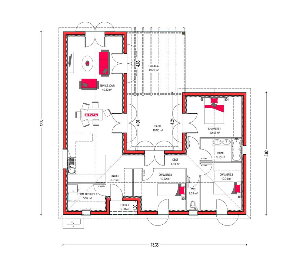 Plan De Maison Avec Patio Interieur modèle de maison : villa patio