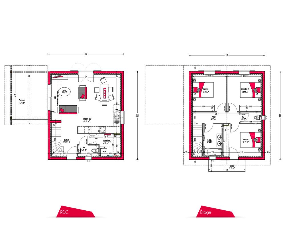 Villas Khara Plan 90m2 Sansgarage Couleur Villas